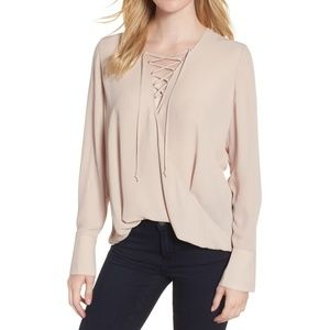 Trouve Tan Lace Up Long Sleeve Top XS